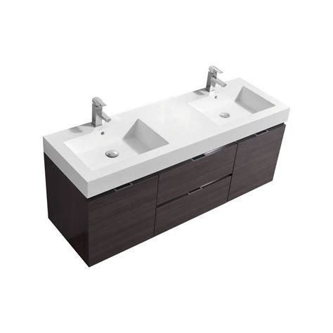 """Bliss 60"""" High Gloss Gray Oak Wall Mount Double Sink Vanity. Renovated Small Kitchens. Kitchen Microwave Ideas. Kitchen Colors With White Appliances. Yellow Black And White Kitchen. My White Kitchen. Kitchen Island Price. Kitchen With Island Layout. Kitchen Renovation Ideas"""