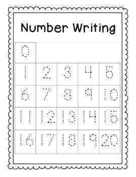 writing numbers 0 20 practice assessment by