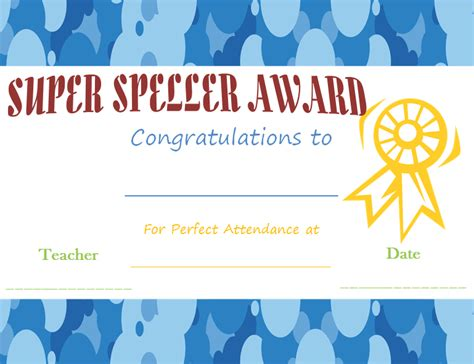 spelling busy bee award certificate template