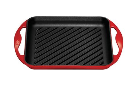 le creuset cast iron square skinny grill   cherry red cutlery