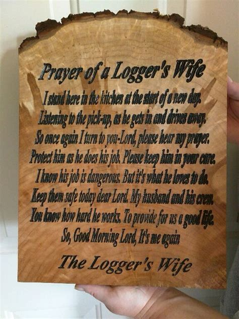 loggers wifes prayer carved   cnc machine