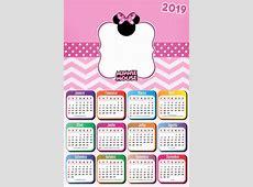 Calendário 2019 Tema Minnie Imagem Legal etiquetas