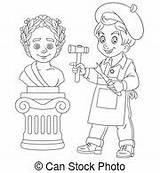 Sculptor Sculpteur Bildhauer Clipart Vektor Eps Coloring Boy Illustrations Cartoon Canstockphoto Illustrationen Garcon Junge Faerbung Coloration Seite sketch template