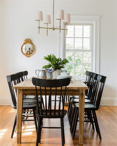 farmhouse dining table  black salt chairs cottage
