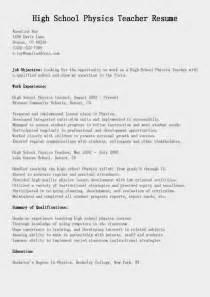 resume exles for high teachers resume sles high physics teacher resume sle