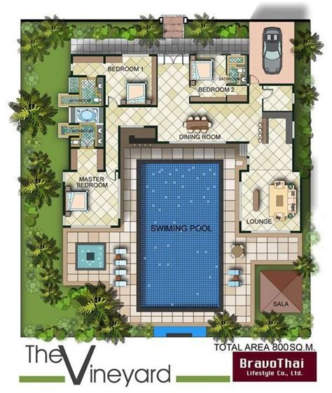 shaped bungalow floor plan  pool google search