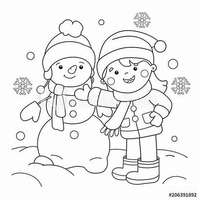 Coloring Winter Outline Snowman Cartoon Making Printable