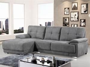 canape d39angle en tissu gris angle droit ou gauche riveo With tapis de marche avec canapé densité 50 kg m3