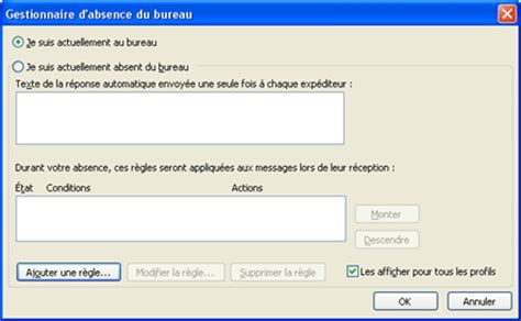 envoyer automatiquement des notifications d absence du bureau avec un compte exchange outlook