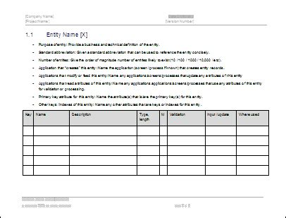 business data dictionary template system design document template