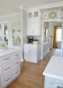 Coastal kitchen makeover the reveal for Kitchen colors with white cabinets with canvas wall art set
