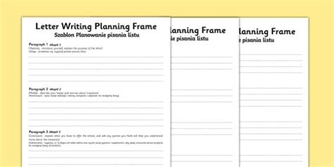transition letter writing differentiated planning frame polish