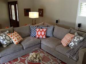 orange and grey living room eclectic living room san With gray and orange living room