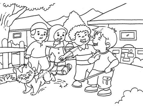 gambar mewarnai anak nakal suka mengganggu binatang