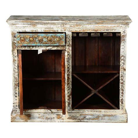 White Wood Wine Cabinet by Covington Distressed White Mango Wood Brass Inlay Wine Bar