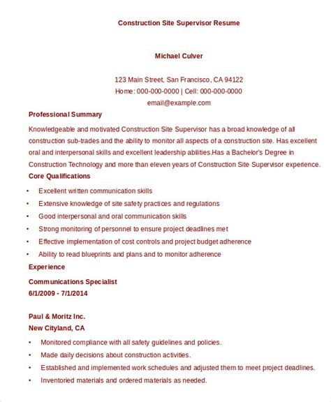 Resume Site Template by 10 Construction Resume Exle Pdf Doc Free