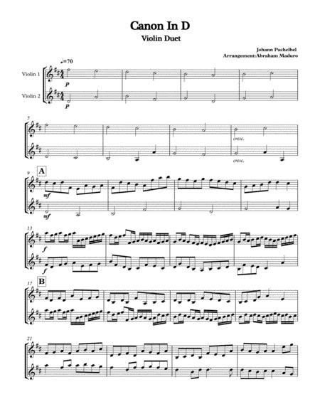 All the sheet music you want in one place. Canon In D Violin Duet By Johann Pachelbel (1653-1706) - Digital Sheet Music For Violin,String ...