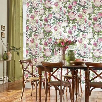 Protea King Sanderson Glasshouse Mica Wallpapers Linen