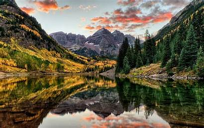 Landscape Water Reflection Mountains Nature Trees Lake
