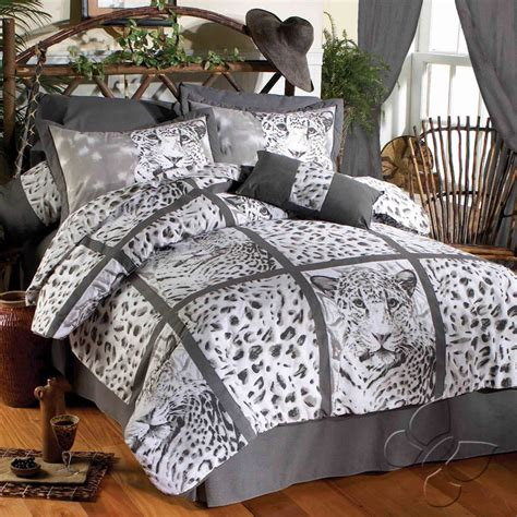 new ladies gray white animal print leopard comforter