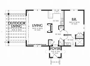 Simple one bedroom house plans home plans homepw02510 for Simple 1 bedroom floor plans