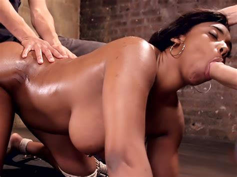 Voluptuous Ebony Babe Is Tied And Fucked With 2 Massive