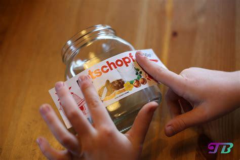 nutella glas diy etikett rotschopf aufkleben teenie blog