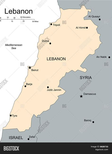 Lebanon Major Cities And Capital And Surrounding