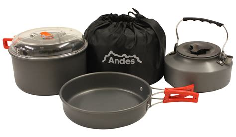 camping pots pans cooking cookware cook kettle aluminium portable anodised kitchen andes hover enlarge