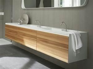 Vasque En Corian : meuble sous vasque mural en corian avec portes meuble ~ Premium-room.com Idées de Décoration