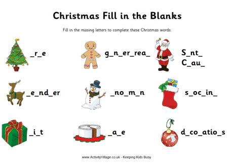 christmas activity for work fill in the blanks worksheet