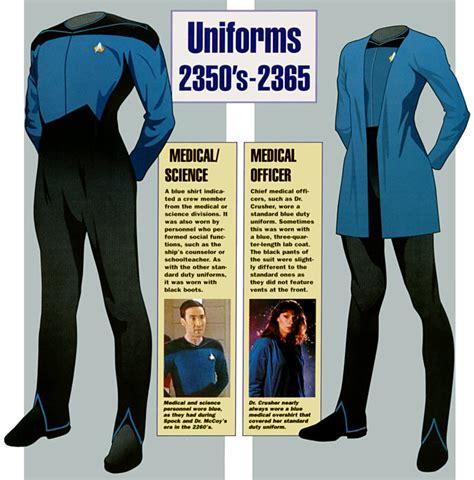 uniforms trek star starfleet clothing medical 2364 generation tos clothes dress underwear space insignia magazine scientia astris ex favorite century