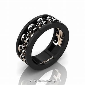 Mens Modern 14K Black And Rose Gold Black Diamond Skull