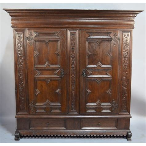 Armoire Cupboard by Exquisite 17th Century Continental Baroque Carved Oak