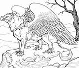 Coloring Pages Animals Griffin Adult Fantastic Colouring Animal Fantasy Therapy Dragon Animaux Coloriage Mythical Printable Adults Sheets Griffon Difficult Creatures sketch template