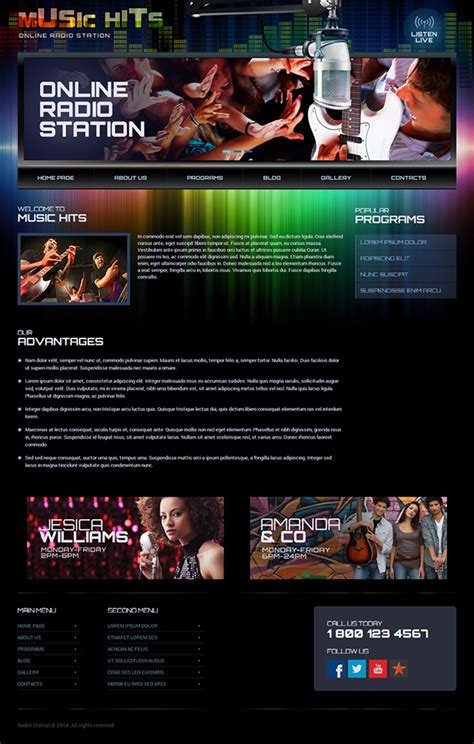 radio station wordpress template  behance