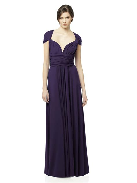 purple column cap sleeves and sweetheart cross back pleats