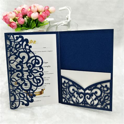 Trifold Wedding Cards Invitations 24 Customized Color