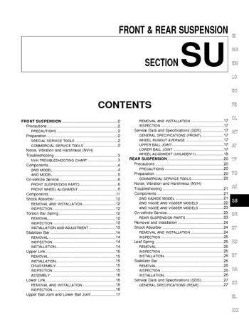 2002 Nissan Xterra - Front & Rear Suspension (Section SU
