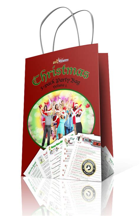 printable christmas party games pack download printable partybag 5 pack volume 1