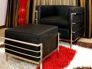 Le Corbusier Style Chair Ottoman Set In Black Leather