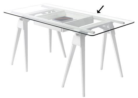 plateau de bureau en verre plateau verre pour bureau arco 150 x 75 cm plateau