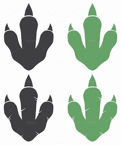 Dinosaur Footprint Vector Paw Clip Clipart Illustration