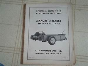 Allis Chalmers 180 Pto Drive Manure Spreader Operators Manual