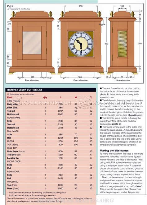 bracket clock plans woodarchivist