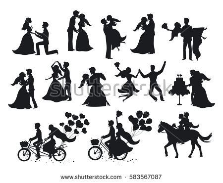 married bride groom silhouettes set stock vector