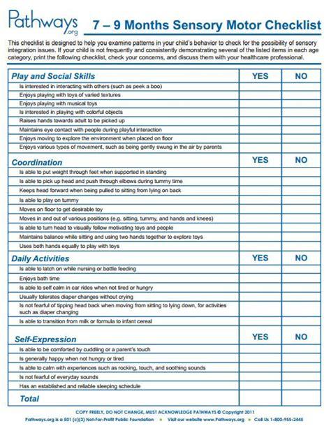 child development checklists sensory integration  month  baby activities  month