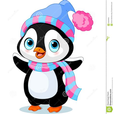 cute winter penguin royalty  stock images image