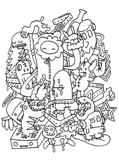dibujo de montana de cosas en doodle  colorear