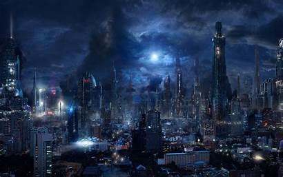 Futuristic Sci Fi Night Dark Skyscrapers Future